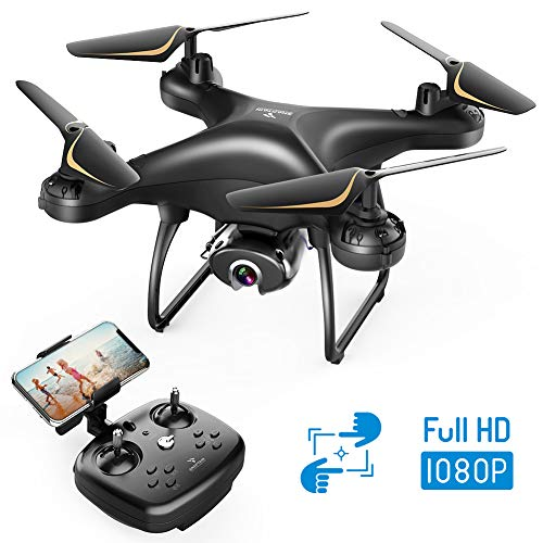SNAPTAIN SP650 1080P Drone with Camera for Adults 1080P HD Live Video Camera Drone for Beginners w/Voice Control, Gesture Control, Circle Fly, High-Speed Rotation, Altitude Hold, Headless Mode