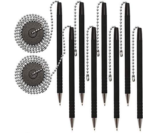 Secure-A-Pen with Adhesive, 26' Ball Chain, 2 Pack of 4 Pens (8 Pens),Rubber Grip, Black Ink and Easy To Refill