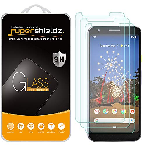 (3 Pack) Supershieldz for Google (Pixel 3a XL) Tempered Glass Screen Protector, 0.33mm, Anti Scratch, Bubble Free