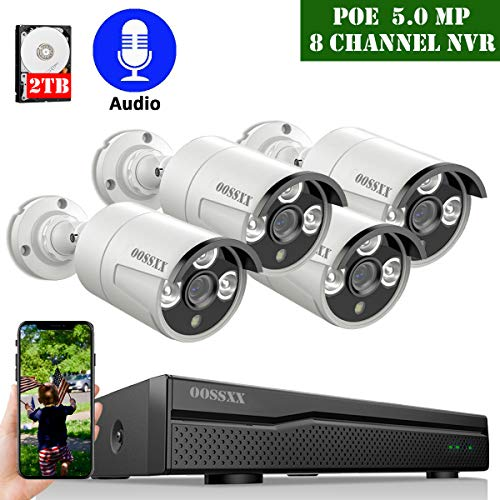 2020 Update POE Security Camera System,OOSSXX 8CH 4K POE System,4pcs 5MP Outdoor Wired POE IP67 Waterproof Cameras with One-Way Audio,2TB Hard Drive pre-Install