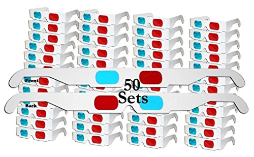 ZiYan- 50 Pairs - Flat- 3D Glasses Red and Cyan White Frame Anaglyph Cardboard