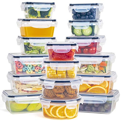 Food Storage Container with Lid - 16 Piece Plastic Storage Containers with Lids - Airtight Leak Proof Easy Snap Lock Food Containers with lids - BPA Free Container Set