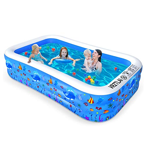 VRZTLAI Inflatable Swimming Pool, Family Lounge Pool Kiddie Pool for Kids, Adult, Infant, Toddlers, Garden, Backyard, Outdoor Summer Water Party, Full Sized 120' X 72' X 22'