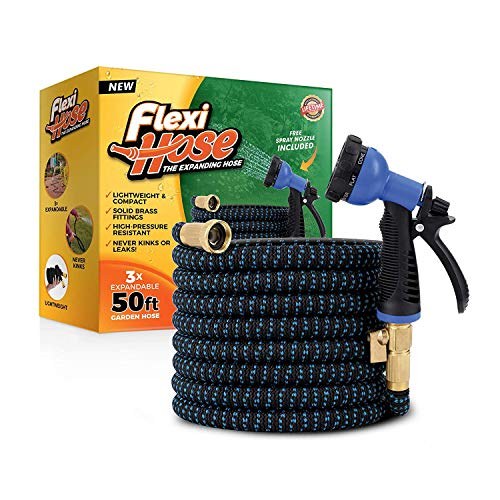 Flexi Hose Lightweight Expandable Garden Hose | No-Kink Flexibility - Extra Strength with 3/4 Inch Solid Brass Fittings & Double Latex Core | Rot, Crack, Leak Resistant (50 FT, Blue/Black)