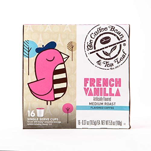 Coffee Bean & Tea Leaf French Vanilla Medium Roast Single Serve Kcups (16 ct) for Keurig Compatible Single Serve Machines