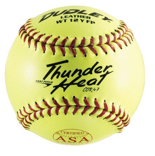 Dudley ASA Thunder Heat Fastpitch Softball - 12 Pack, Yellow (4A147YA)