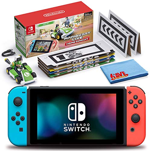 Nintendo Switch (Neon Blue/Red) Bundle with Mario Kart Live: Home Circuit (Luigi Set) + 6Ave Cleaning Cloth