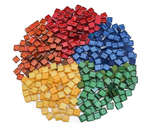 1cm Square Tile Pieces for Mosaic Art, E-Home Shop 568g (20oz) Assorted Colorful Glitter Glass Mosaic Chips for Mosaic Candle Holder Making, Mosaic Coaster, Mosaic Crafts (640 Pieces)