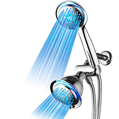 DreamSpa All Chrome 3-way LED Shower Head Combo with Air Jet LED Turbo Pressure-Boost Nozzle Technology. Color of LED lights changes automatically according to water temperature