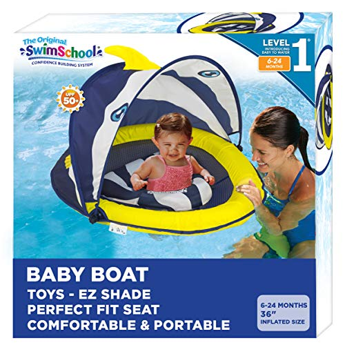 SwimSchool Splash & Play Fun-Fish Baby Pool Float with Canopy with Activity Center, Dual Air Pillow Chambers and Adjustable Safety Seat, Baby Float, 6 - 24 Months, Navy/White