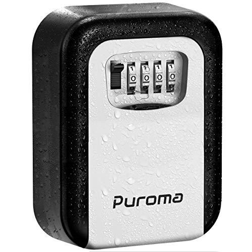 Puroma Security Key Lock Box, 4-Digit Combination Waterproof Portable Key Storage Lockbox Wall Mount 5 Key Large Capacity for House Key, Special Car Key, ID Card (Black & Gray)