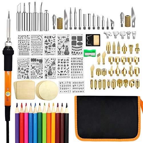 Wood Burning Kit, PETUOL 110PCS Wood Burning Tool with Adjustable Temperature 200~450¡æ, Professional Pyrography Pen for Embossing/Carving/Soldering