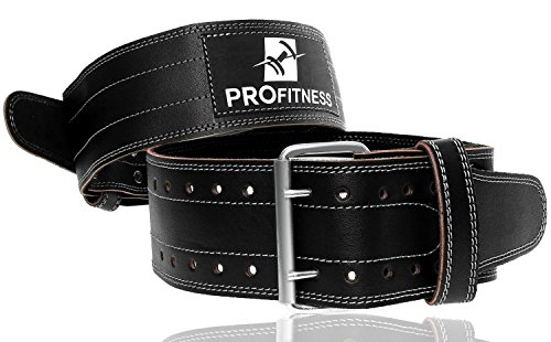 ProFitness Weight Lifting Belts for Men and Woman Leather Weightlifting Belt Comes with (Black/White, Medium)