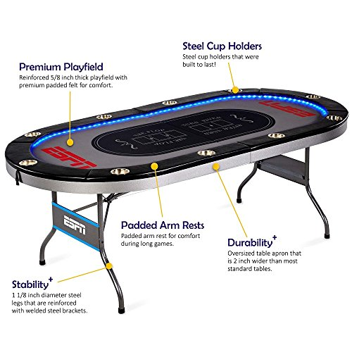 ESPN 10 Player Premium Poker Table With LED Lights