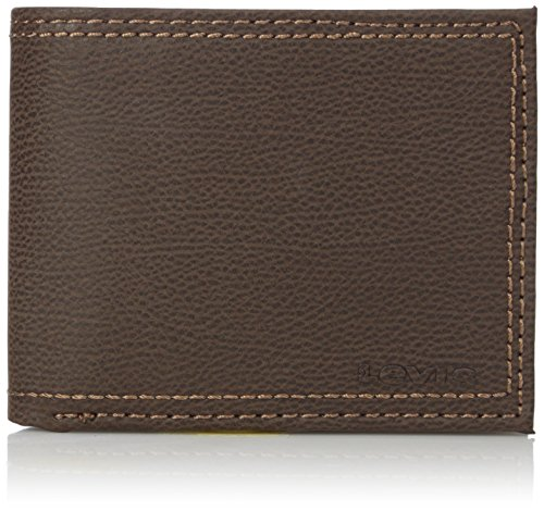 Levi's Men's Rfid Blocking Extra Capacity Leather Slimfold Wallet, Brown