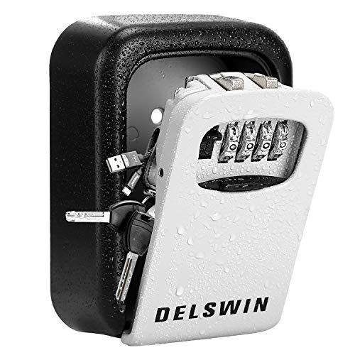 Wall Mounted Key Lock Box - Weatherproof Combo LockBox with 4-Digit Combination Key Storage Box for Home,Airbnb,Hotel,School,Office,Special Car Key
