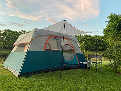 NTK Flash 8 Sleeps up to 8 Person 13.1 by 8.9 FT Outdoor Instant Cabin Family Camping Tent 100% Waterproof 2500mm, Easy and Quick Assembly, Durable Fabric and Micro Mosquito Mesh.