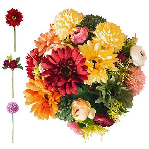 MISSWARM Artificial Mixed Wedding Bouquet 6 Peony Flowers 6 Sun Flowers 6 Hydrangea Flowers Bride Flowers Bouquet Wedding Flower Arrangements (Warm Red)