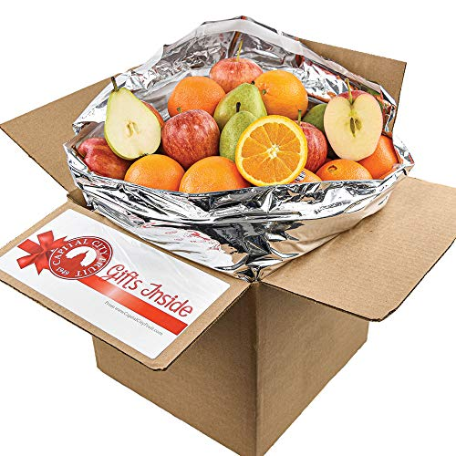 Gourmet Fruit Basket, (10lb) Mixed Fruit Sampler Box with Pears, Apples, and Oranges (22 pieces)