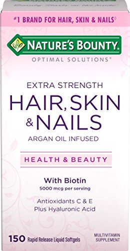 Extra Strength Hair Skin and Nails Vitamins by Nature's Bounty Optimal Solutions, Vitamin C, Vitamin A, & Vitamin D for Immune Support, Argan Oil Infused Multivitamin Softgels, 150 Count