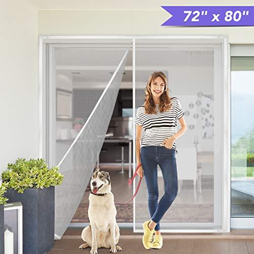 Titan Mall 72x80' Upgraded Magnetic Screen Door with Durable Fiberglass Mesh Curtain Fits Door Full Frame Seal Loop Fits Door- White