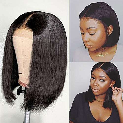 Short Bob Wigs Human Hair 4X4 Lace Closure Bob Wig 150% Density Brazilian Virgin Human Hair Straight Bob lace Front Wigs For Black Women Pre Plucked with Baby Hair Natural Color (10 Inch)