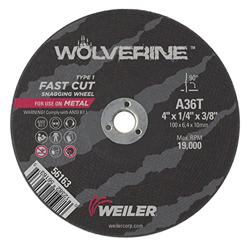 Weiler 56163 4' x 1/4' Wolverine Type 1 Snagging Wheel, A36T, 3/8' A.H. (Pack of 25)