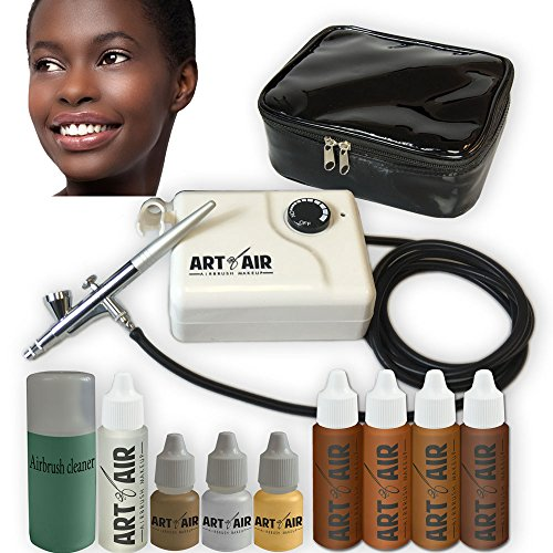 Art of Air DARK Complexion Professional Airbrush Cosmetic Makeup System / 4pc Foundation Set with Blush, Bronzer, Shimmer and Primer Makeup Airbrush Kit