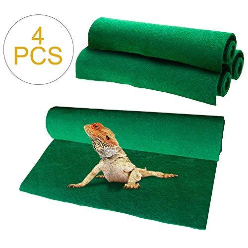 Reptile Carpet 4pcs Terrarium Substrate Liner Pet Habitat Bedding Soft Green Mat for Bearded Dragon Lizards Gecko Chamelon Iguana Turtles Snakes (19.7' x 11.8')