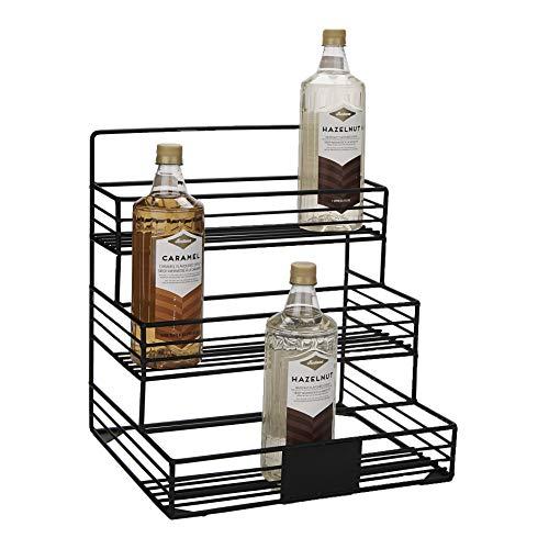 Mind Reader IRSYR12-BLK Iron, Wire Compartment Organizer, Storage for Syrup, Wine, Dressing, Black-12 Capacity, One Size, 12 Bottle Holder