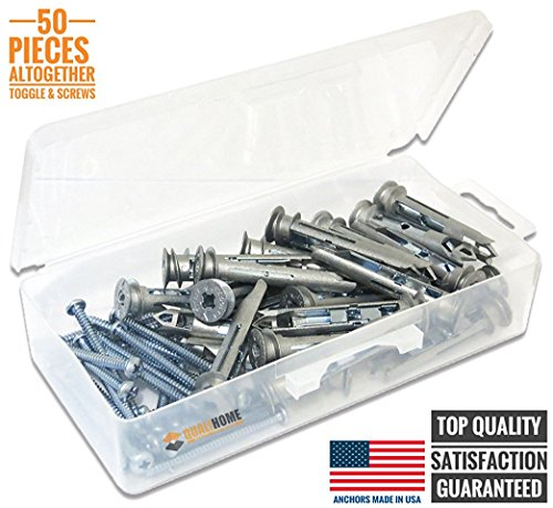 Heavy Duty Self-Drilling Toggle Anchors for Drywall with Screws Kit, Zinc