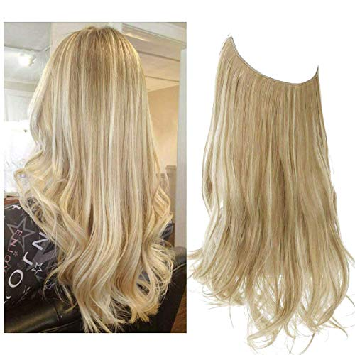 SARLA 12' 14' 16' 18' Synthetic Wavy Halo Hair Extension Long Natural Wavy Hairpieces Invisible Wire Heat Friendly Fiber No Clip 18' 4.2 oz(M01&16H613 Dirty Blonde)