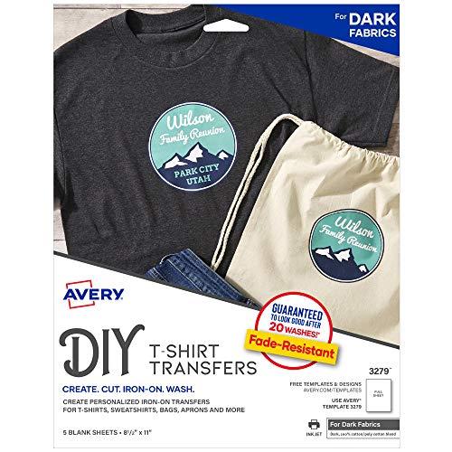 Avery 3279 Printable Heat Fabric Transfer Paper for DIY Projects on Dark Fabrics -- Make Custom Bandanas, Pack of 5