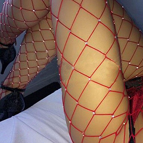 Elaco Women Rhinestone Fishnet Elastic Stockings Big Fish Net Tights Pantyhose, (Red)