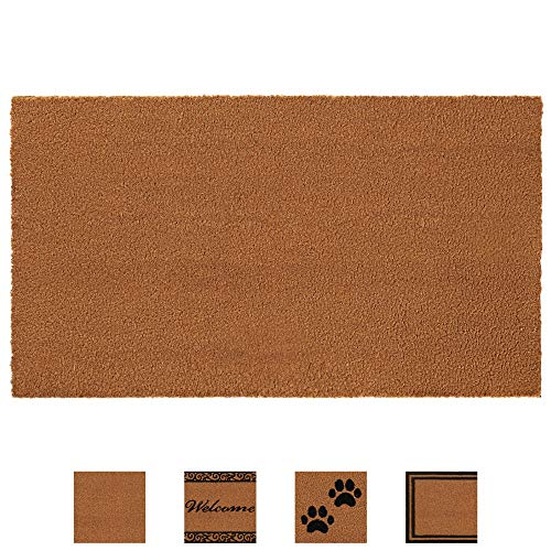 Gorilla Grip Premium Durable Coir Door Mat, 24x16, Thick Heavy Duty Coco Doormat for Indoor Outdoor, Easy Clean, Low Maintenance, Low-Profile Rug Mats for Entry, Patio, High Traffic Areas, Solid