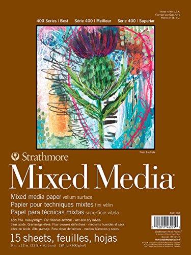 Strathmore 400 Series Mixed Media Pad, 9'x12', White, 15 Sheets