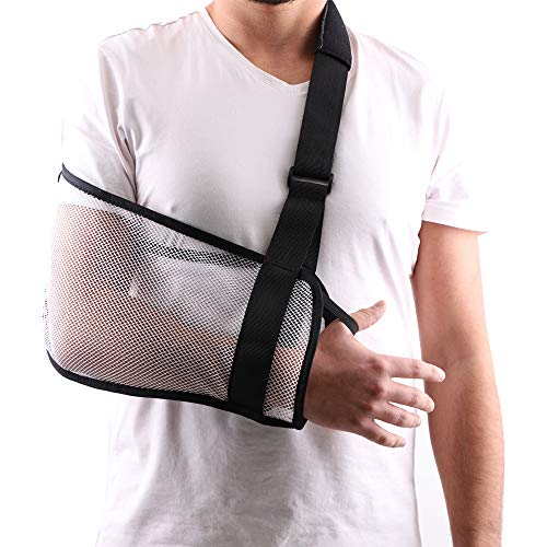 Mesh Arm Shoulder Sling Great Shower Bath Sling Used after rotator cuff Shoulder Surgery Arm Brace Support for Men and Women,White