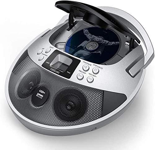VENLOIC Boom Box with Cd Player and Radio, Boombox Cd Player Am/Fm Radio, Portable Cd Player Boombox USB