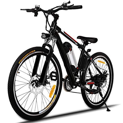 Hicient Electric Bike Electric Bicycle for Adult 26'' Electric Mountain Bike 250W Ebike 21 Speed Gear with Removable Lithium Battery and Battery Charger (Dark Black)