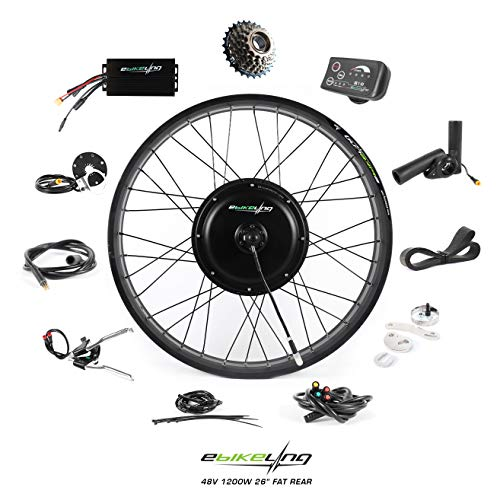 EBIKELING 48V 1200W 26' Fat Direct Drive Rear Waterproof Electric Bicycle Conversion Kit (Rear/LED/Thumb)
