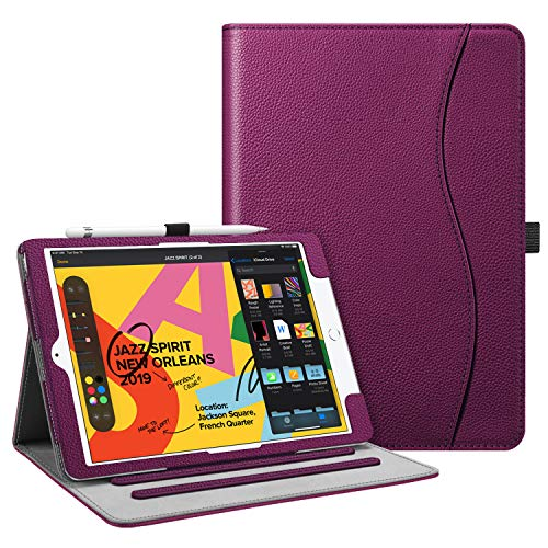Fintie Case for New iPad 7th Generation 10.2 Inch 2019 - [Corner Protection] Multi-Angle Viewing Folio Smart Stand Back Cover with Pocket, Pencil Holder, Auto Wake/Sleep for iPad 10.2' 2019, Purple