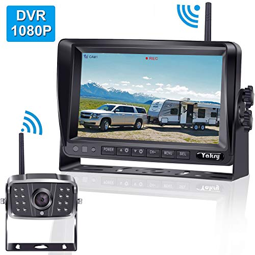 FHD 1080P Digital Wireless Backup Camera for RVs/Trailers/Trucks/Fifth Wheels/Boats Rear/Front View Camera 7''Monitor with DVR System Highway Monitoring System Guide Lines ON/OFF