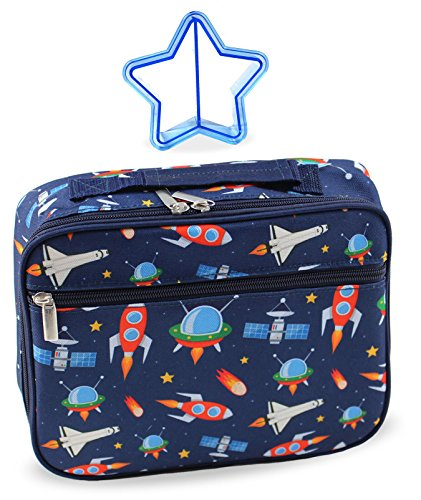 Kids Space Lunch Box Insulated for Little Boys Girls Toddlers Preschool Kindergarten Insulated Supplies for Back to School Supplies Lunchbox with Matching Sandwich Cutter (Outer Space Rocket Ships)