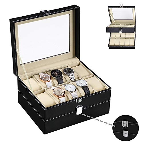 PENGKE 2 Tier Watch Box for Men,20 Slot Luxury Carbon Fiber Design Watch Display Case with Lock,10'x7.9'x5.5',Black Pack of 1