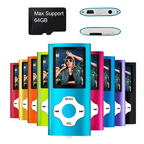 MYMAHDI Support TF Card USB Port Slim Small Multi-Lingual Selection 1.8 LCD Portable MP3/MP4, MP3 Player, MP4 Player, Video Player, Music Player, Media Player, Audio Player Blue
