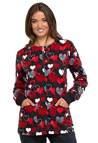 CHEROKEE Genuine CK301 Women's Snap Front Warm-up Jacket, Heart Smart, X-Large