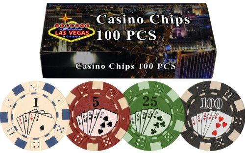 DA VINCI 100 11.5 Gram Poker Chips in Las Vegas Gift Box (Straight Flush)