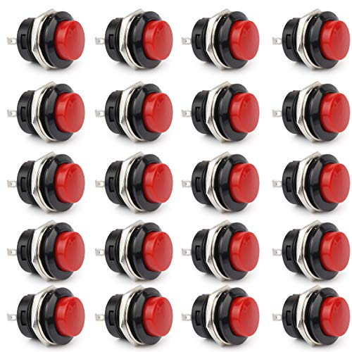 Clyxgs Momentary Push Button Switch, Mini Push Button Switch No Lock Round 16mm 3A 250V AC/6A 125V AC Red Cap