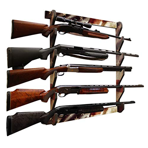 Rush Creek Creations Indoor 5 Rifle/Shotgun Wall Storage Display Rack Americana Finish - Convenient Easy Assembly, One Size