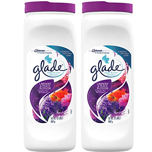Glade Carpet and Room Powder, Lavender and Peach Blossom, 32-Ounce, 2-Pack